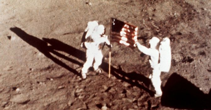 Aldrin and Yeager blast phony flag-revised moon-landing pic