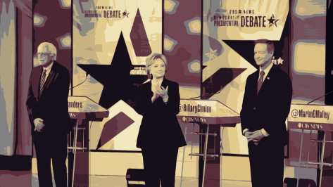 Hillary Clinton, Bernie Sanders, and Martin O'Malley at the 2016 Second Democratic Debate.